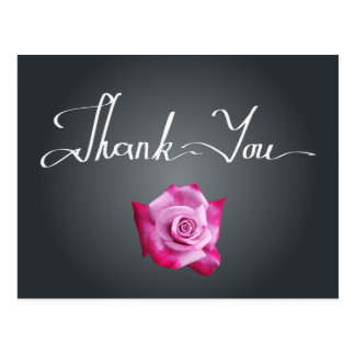 Elegant Pink Rose Handwritten Thank You Postcard
