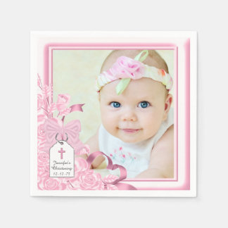 Elegant Pink Rose Photo Christening Disposable Serviettes