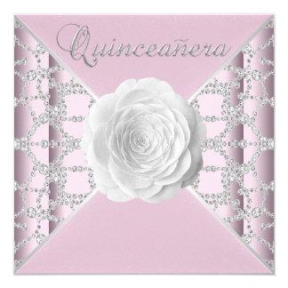 Elegant Pink Rose Quinceanera 13 Cm X 13 Cm Square Invitation Card