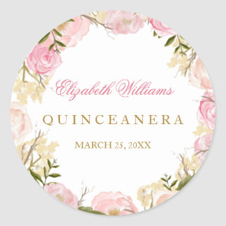 Elegant Pink Rose Quinceanera Sticker