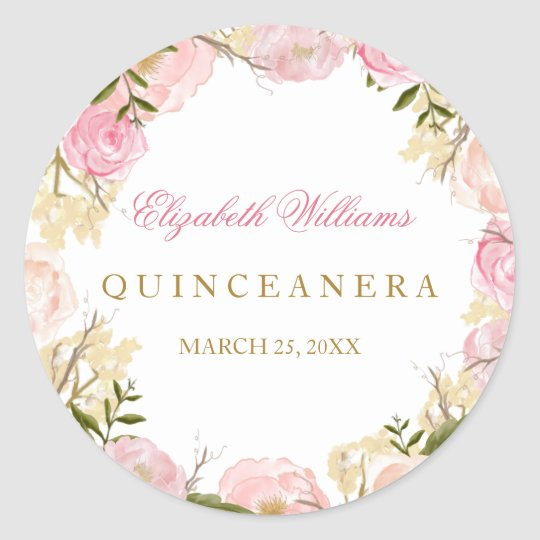 Elegant Pink Rose Quinceanera Sticker