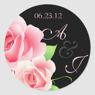 Elegant Pink Rose Sticker Black