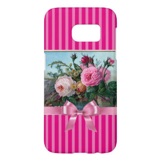 Elegant Pink Roses and Bow Phone Case