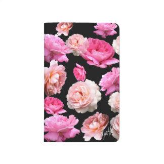 Elegant Pink Roses on Black Floral Pocket Journal