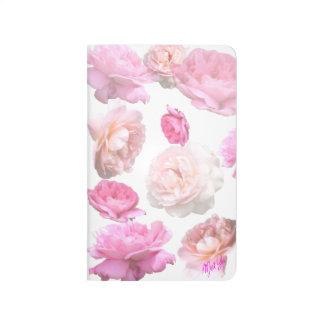 Elegant Pink Roses on White Floral Pocket Journal