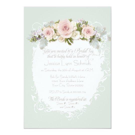 Elegant Pink Roses Succulents Bridal Shower Tea Card