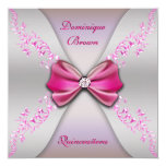 "Elegant Pink Silver Diamond Bow Quinceanera 5.25"" Square Invitation Card"