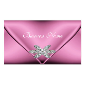 Elegant Pink Silver Diamond Jewel Pack Of Standard Business Cards