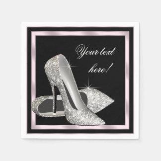 Elegant Pink Silver Glitter High Heel Disposable Napkins