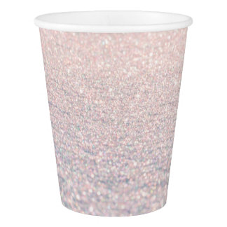 Elegant pink snow chic faux abstract glitter paper cup