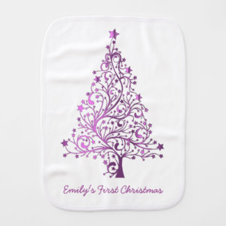 Elegant Pink Starry Christmas Tree Handwriting Burp Cloth