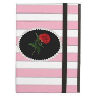 Elegant Pink Stripe Red Rose Ipad Case