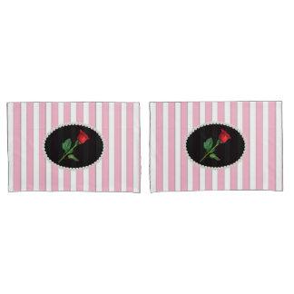 Elegant Pink Striped Pearls & Red Rose Set Pillowcase