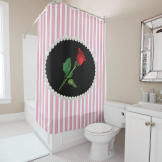 Elegant Pink Striped Pearls & Red Rose Shower Curtain