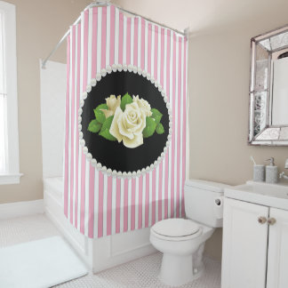 Elegant Pink Striped Pearls & White Roses Shower Curtain