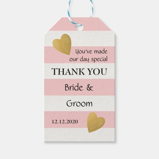 Elegant Pink Striped Wedding Favour Gift Tags