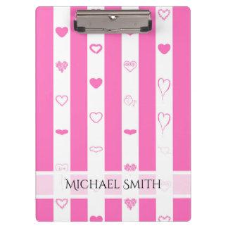 Elegant Pink Stripes Modern Heart Pattern Clipboard