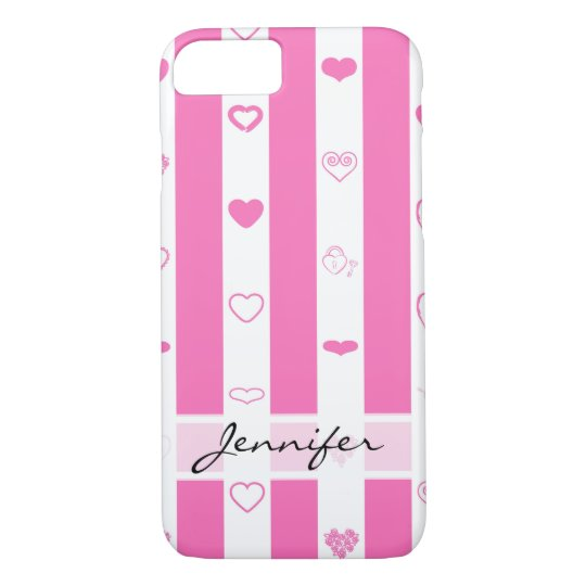 Elegant Pink Stripes Modern Heart Pattern iPhone 8/7