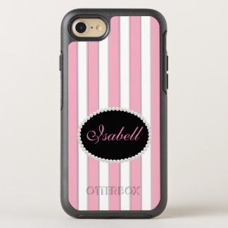 Elegant Pink Stripes Pearl Monogram Case