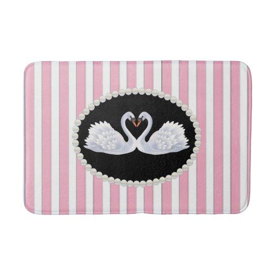 Elegant Pink Stripes, Pearls and Swans Bath Mat