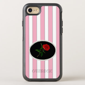 Elegant Pink Stripes Red Rose Case