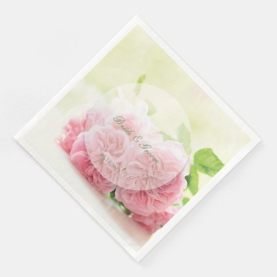 Elegant Pink Summer Rose Wedding Disposable Napkins