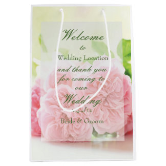 Elegant Pink Summer Rose Wedding Medium Gift Bag