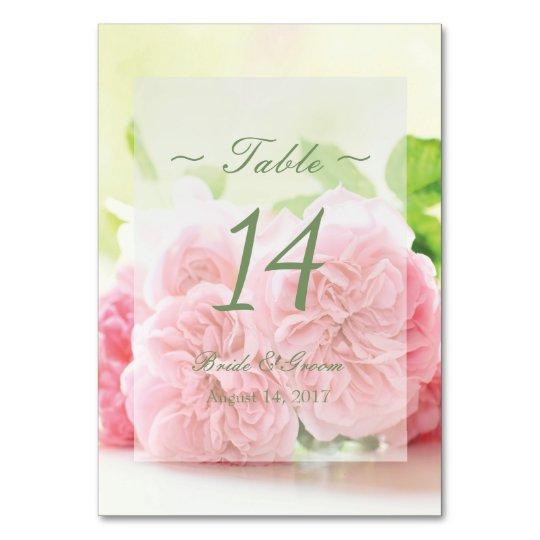 Elegant Pink Summer Rose Wedding Table Number
