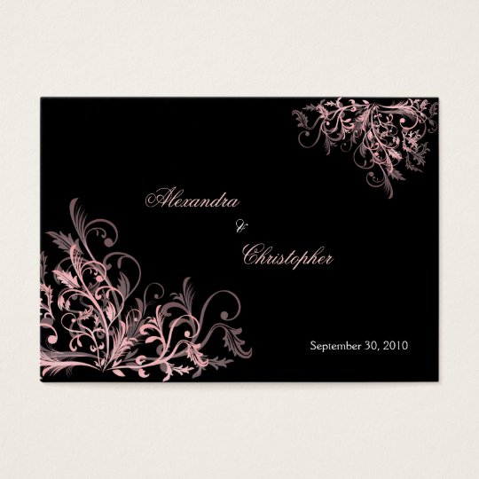 Elegant Pink Swirls RSVP Wedding Announcement Mini Business Card