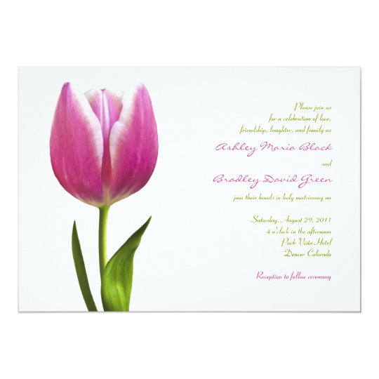 Elegant Pink Tulip Wedding Invitation