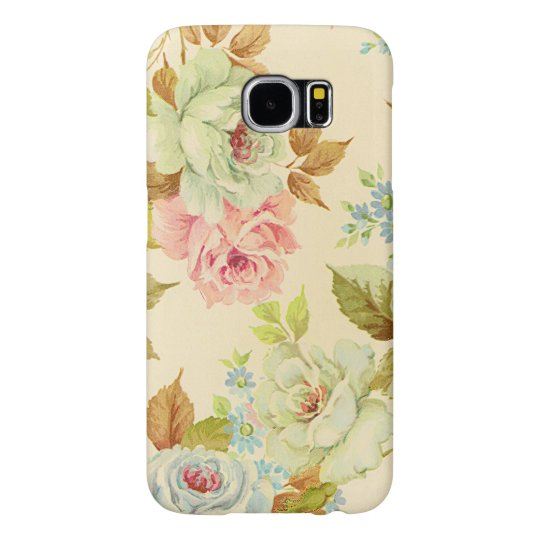 Elegant Pink Vintage Roses On Cream Colour Samsung