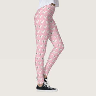 Elegant Pink Watercolor Butterfly Pattern Leggings