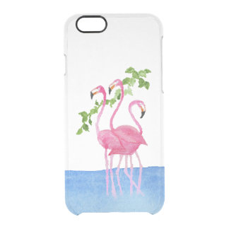Elegant pink watercolor hand painted flamingo clear iPhone 6/6S case