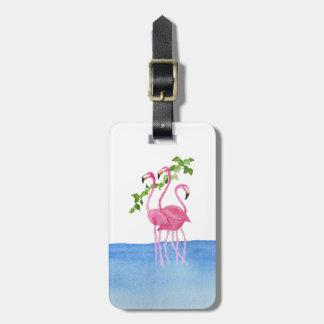 Elegant pink watercolor hand painted flamingo luggage tag