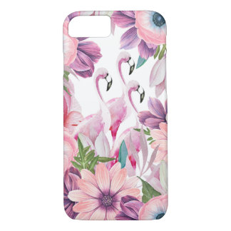 Elegant pink watercolor tropical flamingo floral iPhone 8/7 case