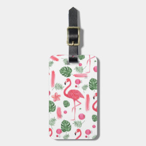 Elegant pink watercolor tropical flamingo floral luggage tag