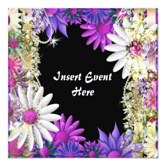 "Elegant pink wedding engagement birthday 5.25"" square invitation card"