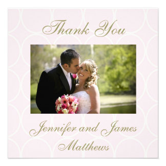 Elegant Pink Wedding Photo Thank You Cards Invite