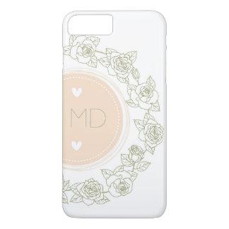 Elegant Pink White Floral Monogram iPhone 7 Plus Case