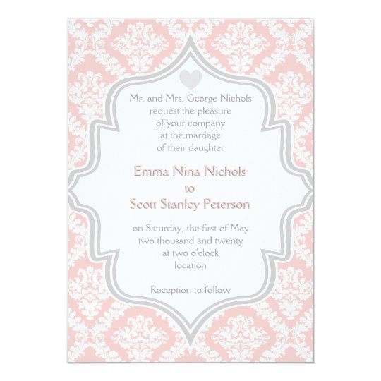 Elegant pink, white, grey damask wedding card