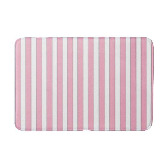 Elegant Pink, White & Silver Striped Bath Mat