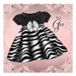 Elegant Pink Zebra Baby Shower Personalised Invitations