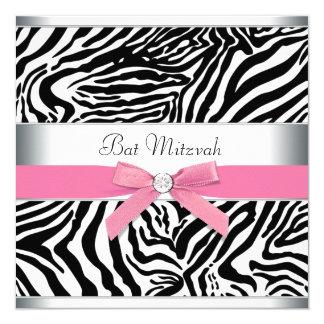 Elegant Pink Zebra Bat Mitzvah Card
