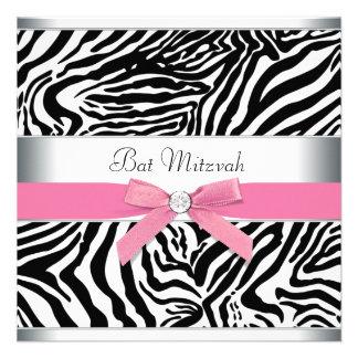 Elegant Pink Zebra Bat Mitzvah Invitation