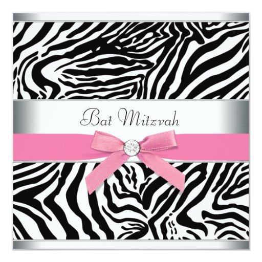 Elegant Pink Zebra Bat Mitzvah Invites