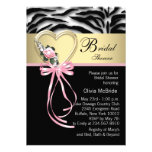 Elegant Pink Zebra Bridal Shower Custom Announcements