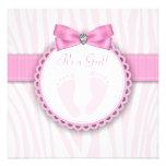 Elegant Pink Zebra Pink Footprint Baby Shower Custom Invite