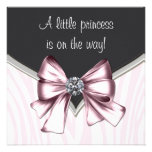Elegant Pink Zebra Princess Baby Shower Invites