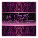 Elegant Pink Zebra Print Quinceanera Invitation
