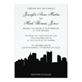 Elegant Pittsburgh Black and White Lace Wedding 13 Cm X 18 Cm Invitation Card
